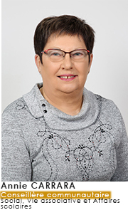 Annie CARRARA  - Conseillère Communautaire - Commissions Social Vie associative et Affaires Scolaires