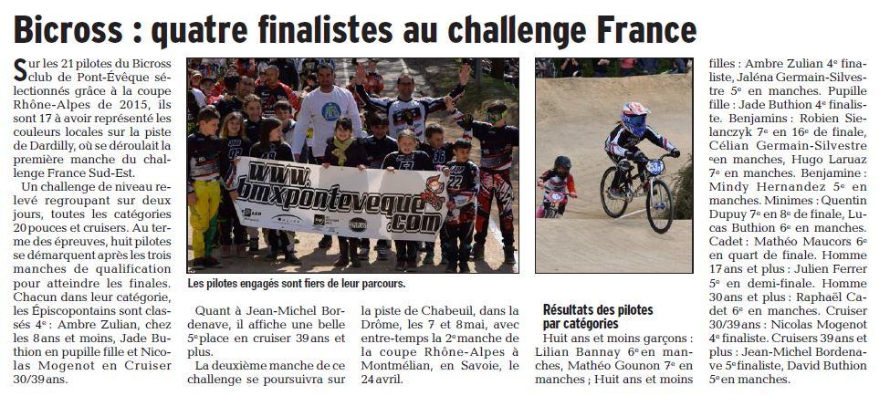 Challenge France Sud-Est 1ère manche à Dardilly - 9 et 10 avril 2016