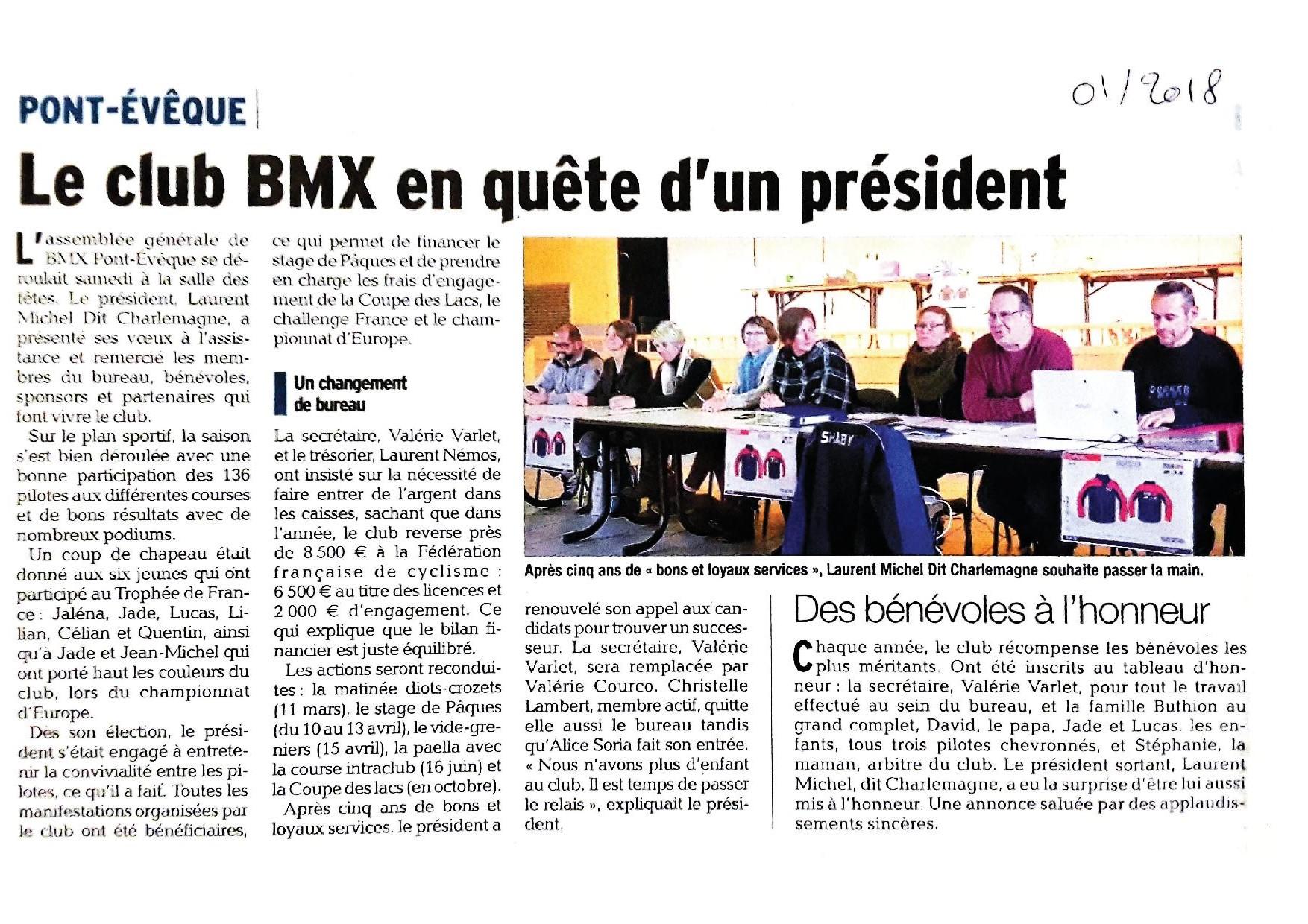 Assemblée générale et Tombola Salle des Fêtes de Pont-Evêque - 20 janvier 2018
