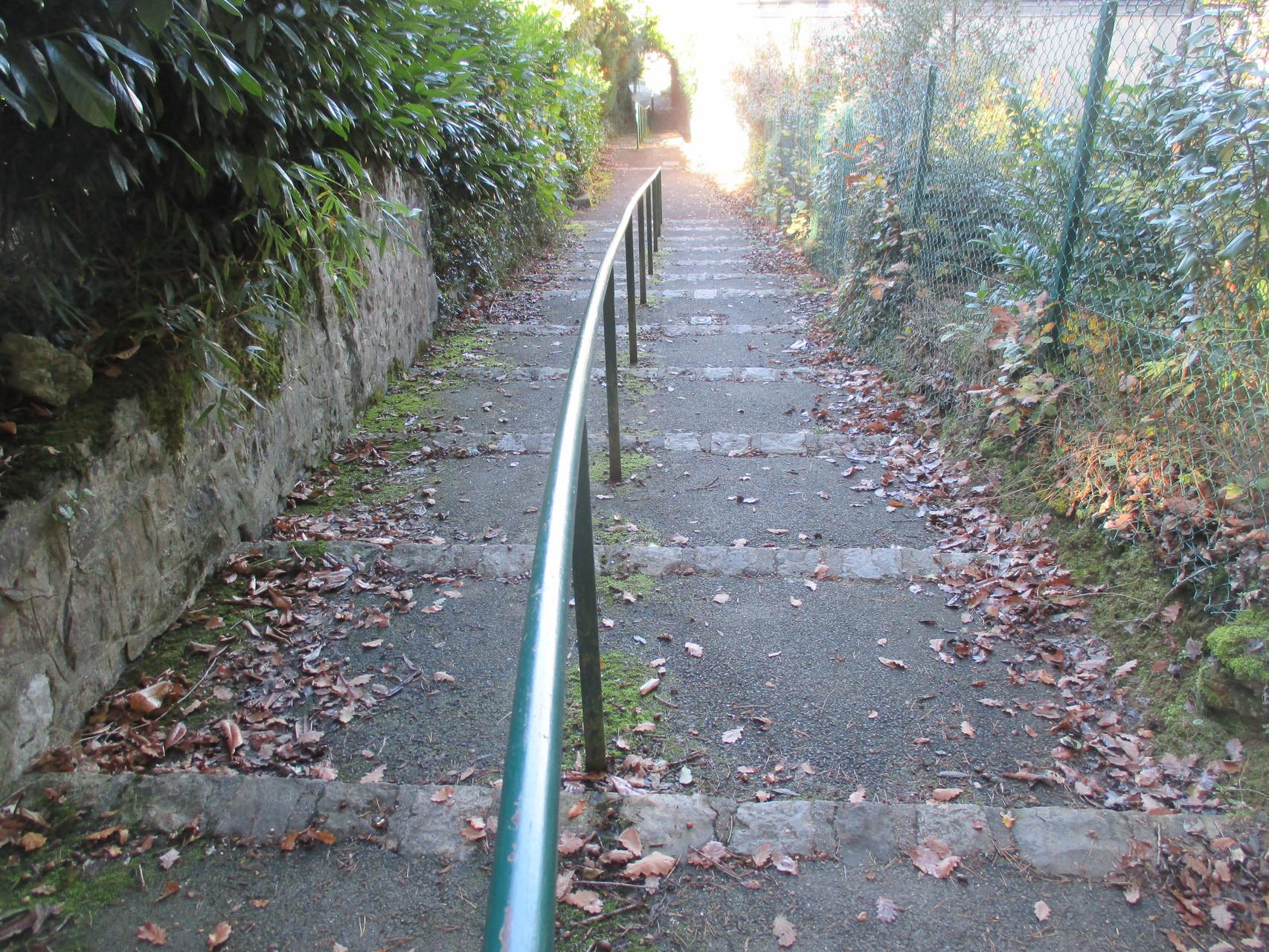 Le petit escalier pour rejoindre le parc du château