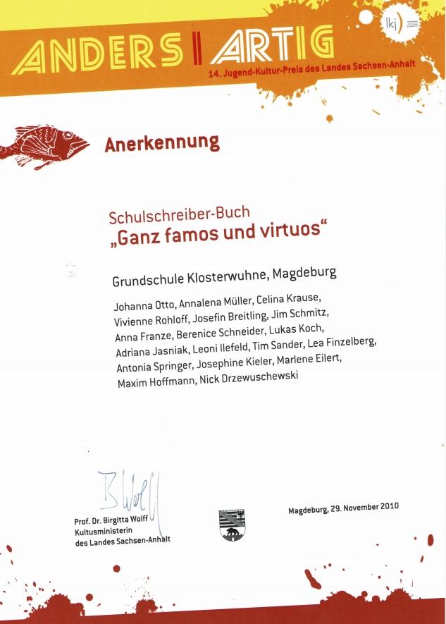 Anerkennung 14. Jugend-Kultur-Preis des Landes Sachsen-Anhalt 2010