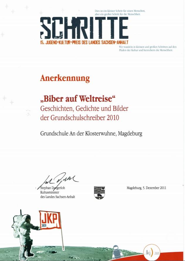 Anerkennung 15. Jugend-Kultur-Preis des Landes Sachsen-Anhalt 2011