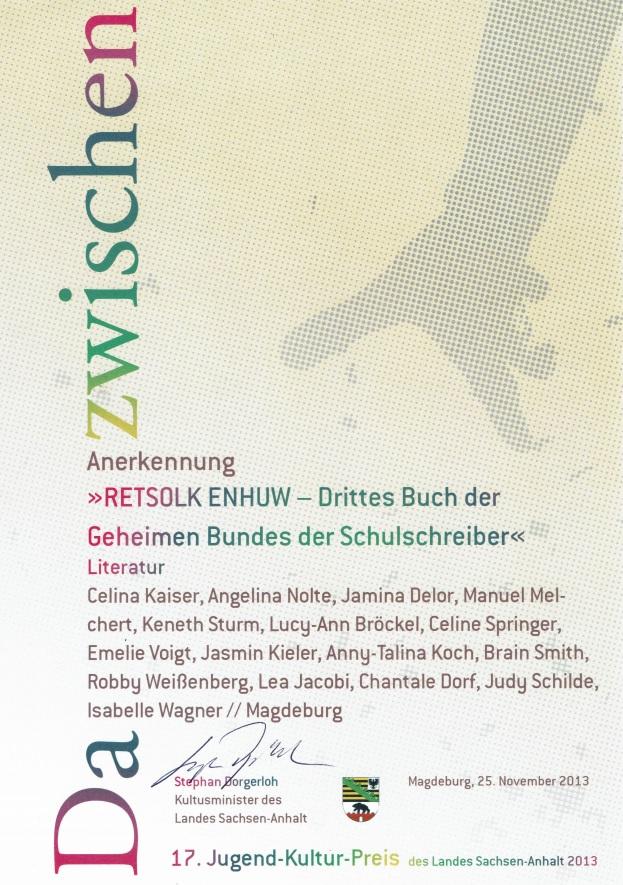 Anerkennung 17. Jugend-Kultur-Preis des Landes Sachsen-Anhalt 2013