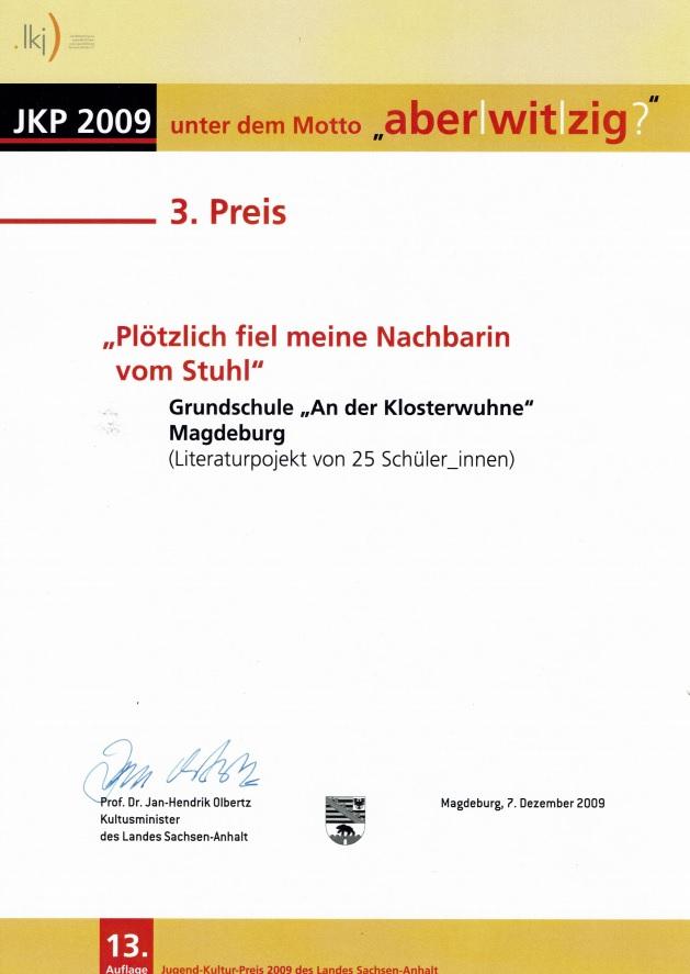 3. Preis 13. Jugend-Kultur-Preis des Landes Sachsen-Anhalt 2009