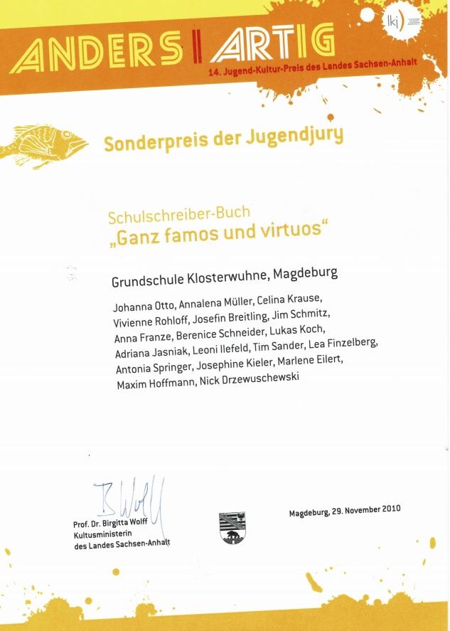 Sonderpreis der Jugendjury 14. Jugend-Kultur-Preis des Landes Sachsen-Anhalt 2010
