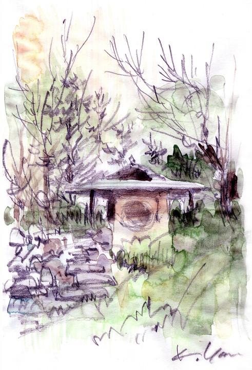 滝口四阿・白鳥庭園 small arbor, Shirotori Garden