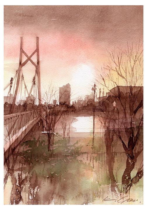 Atsuta Memorial Bridge at dusk