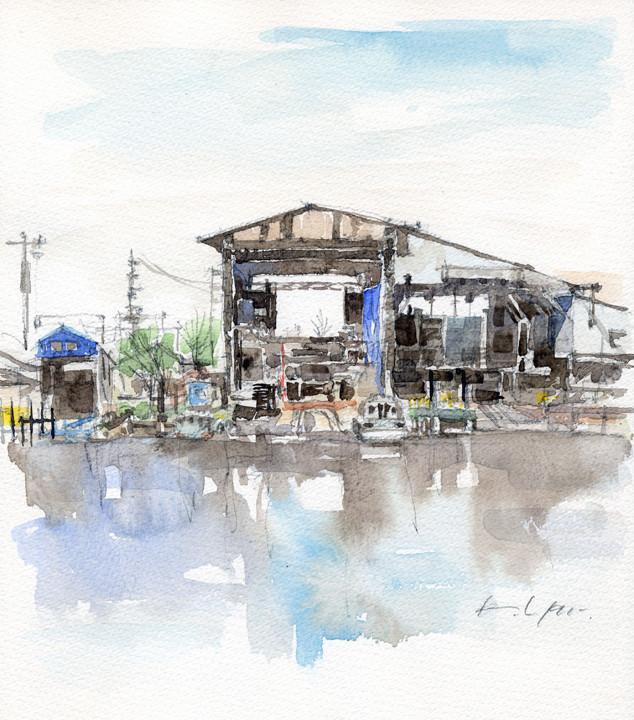 堀川に浮かぶ古い造船所