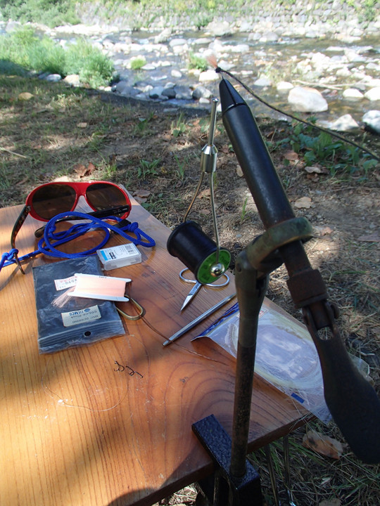 fly tying in the camp sight