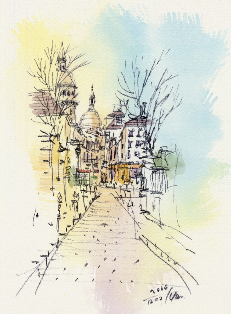 Sacre Coeur, Montmartre from old sketchbook