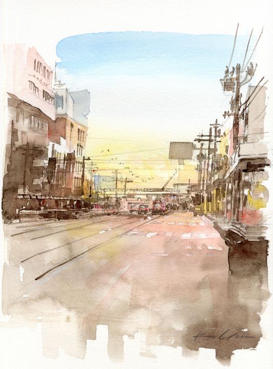 夕刻の大門、函館