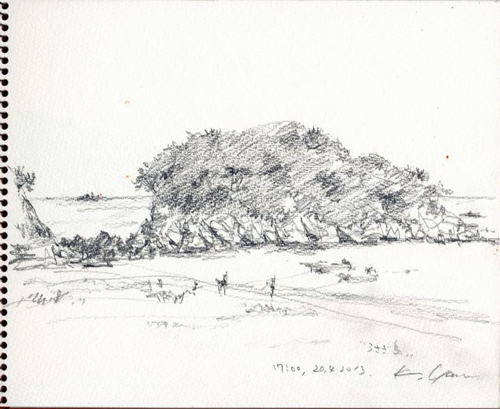 うさぎ島、あづり浜