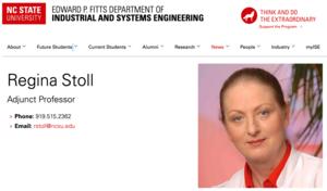 North Carolina State University: Regina Stoll 2021-2024 zum Adjunct Professor am College of Engineering berufen
