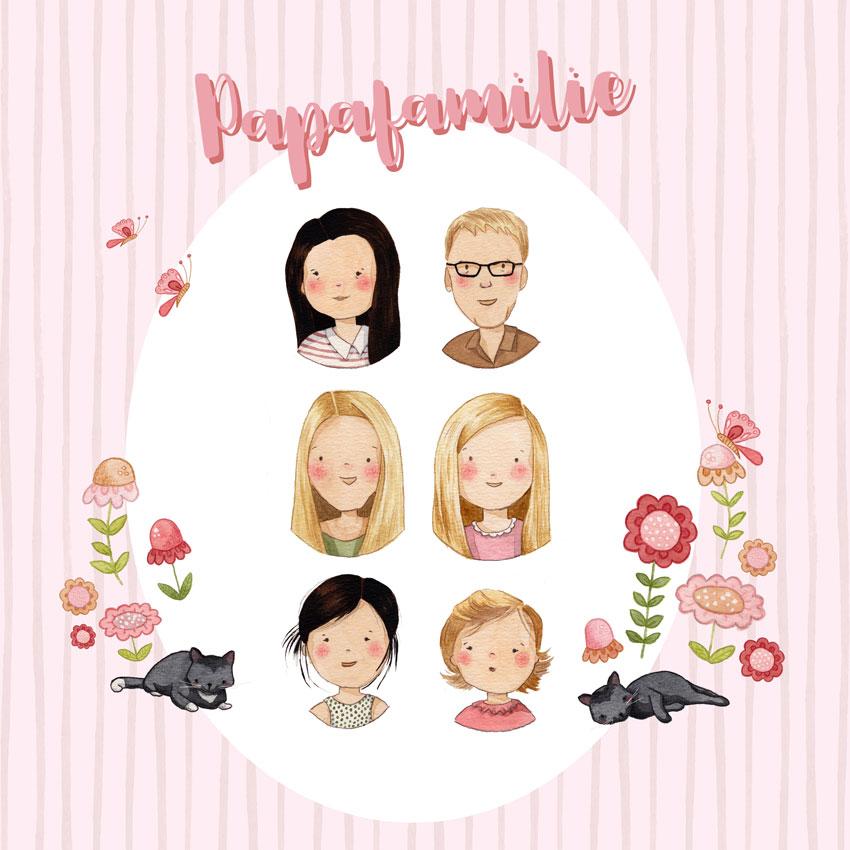 Familienportrait in Aquarell personalisert Illustration