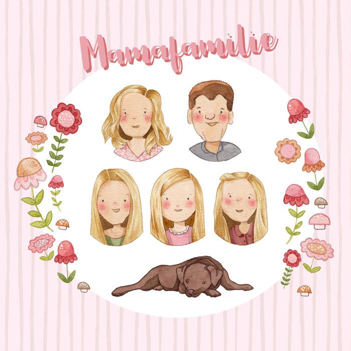 Familienportrait mit Hund Aquarell, personalisierte Illustration