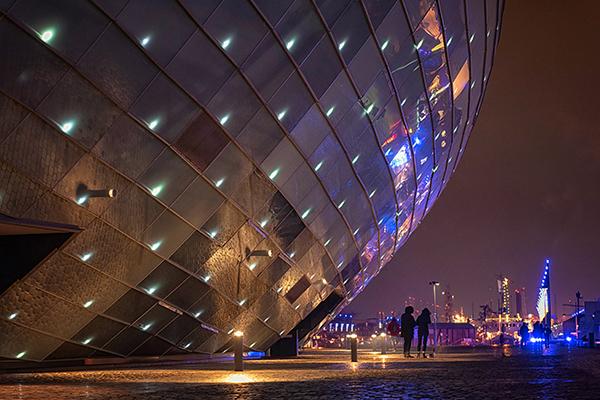Klimahaus bei Nacht Bremerhaven