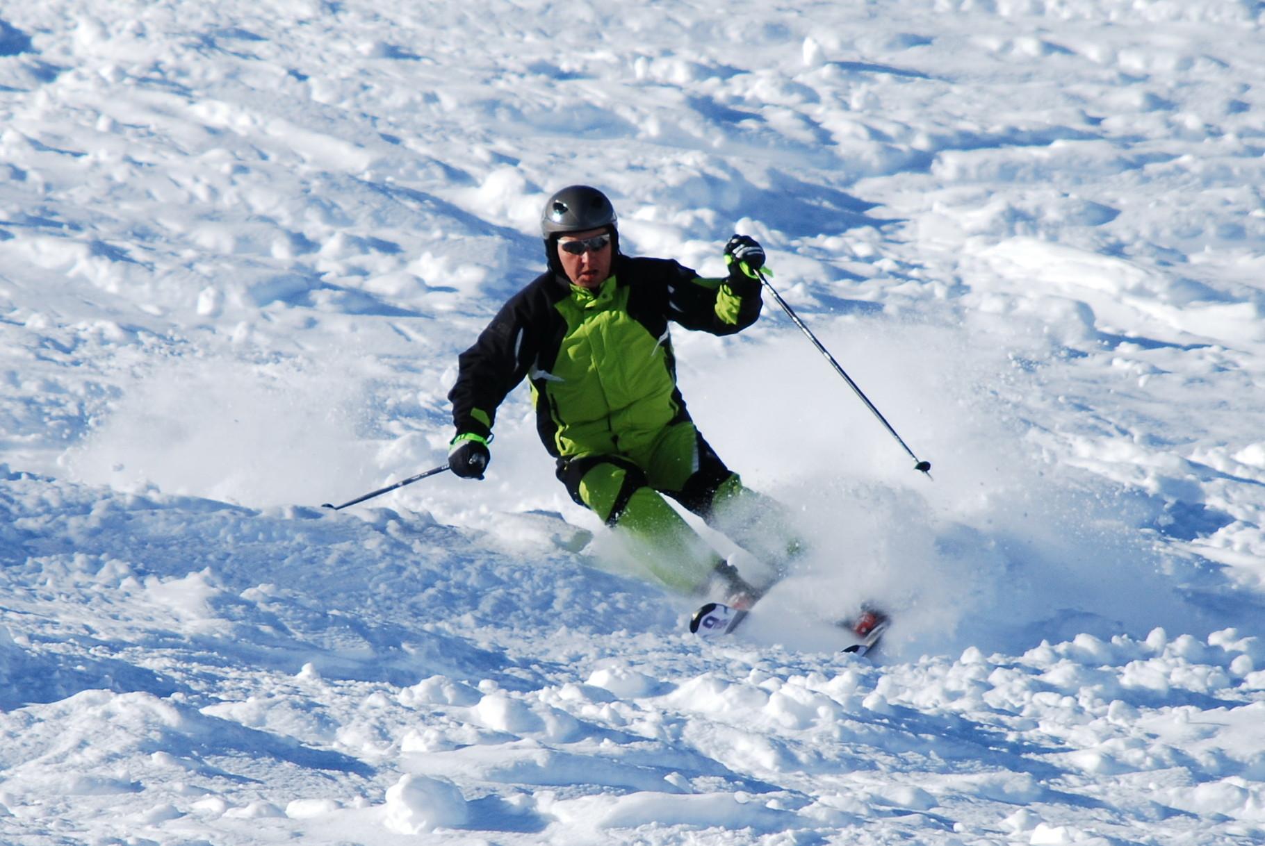 Ebsi beim Skifahren