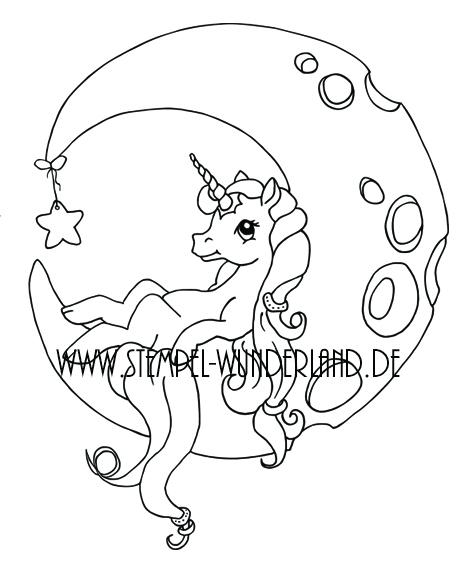 Digi Stamp Digitaler Stempel Einhorn im Mond Stern koloriert Pony vom Stempel-Wunderland.de