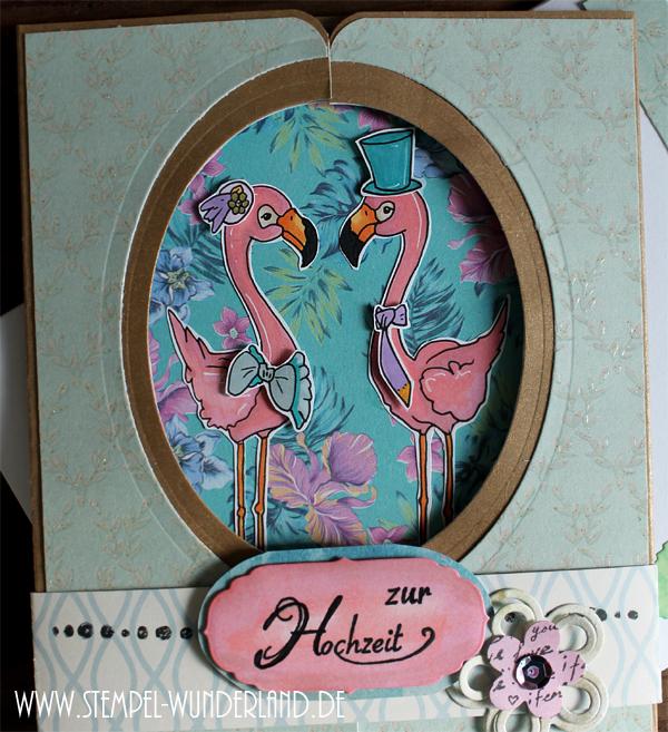 Digi Stamp Flamingo Hochzeit Glückwunsch Karte Hochzeit Hochzeitskarte blumig von www.stempel-wunderland.de