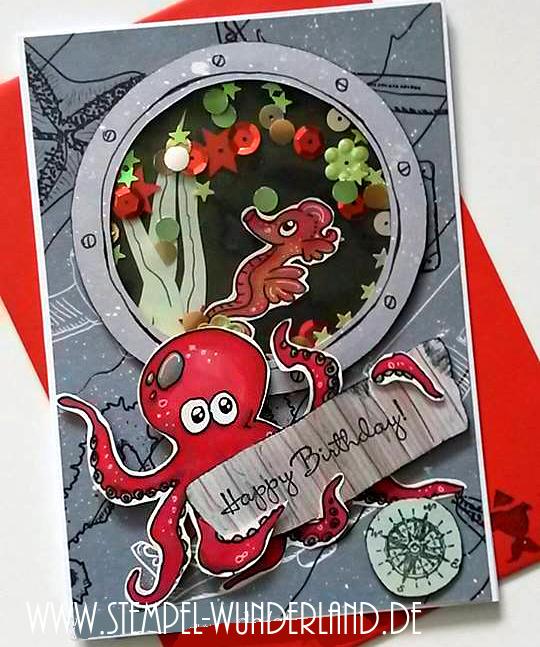 Digi Stamp Digitaler Stempel Unter dem Meer Wasser Oktopuss Krake Seepferdchen Seepferd Bullauge handgemacht von www.stempel-wunderland.de