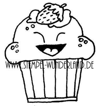 Digi Stamp Cupcake Muffin lacht Erdbeere Gesicht von www.stempel-wunderland.de