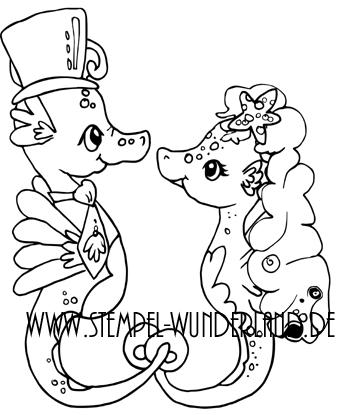 Digi Stamp Digitaler Stempel handgemacht Hochzeit Hochzeitspaar Seepferdchen Seepferd Stempelset von www.stempel-wunderland.de