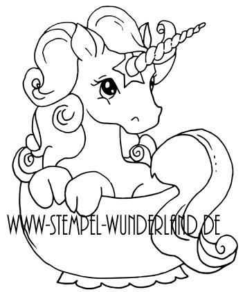 Digi Stamp digitaler Stempel Einhorn in der Tasse Teeparty Geburstag vom www.stempel-wunderland.de