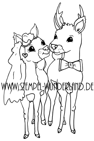 Digi Stamp Digitaler Stempel handgemacht Hochzeit Hochzeitspaar Reh und Hirsch Stempelset von www.stempel-wunderland.de
