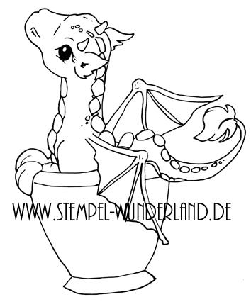 Digi Stamp digitaler Stempel Drache in der Tasse Teeparty Geburstag vom www.stempel-wunderland.de
