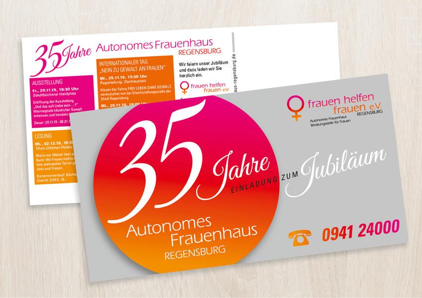 Jubiläums-Postkarte für das Frauenhaus Regensburg