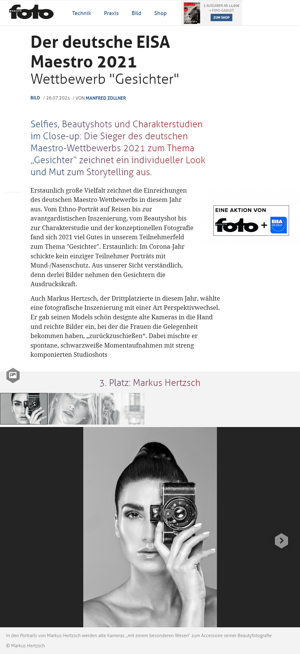 Fotomagazin Online 08 2021 - Markus Hertzsch - Girl - Model - Camera - Bokeh -  Portrait - Eisa Award - Ihagee Parvola