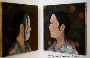 Tradición (伝統 Dentou). Pigmento mineral, díptico, 45 x 45 cm, 2004.