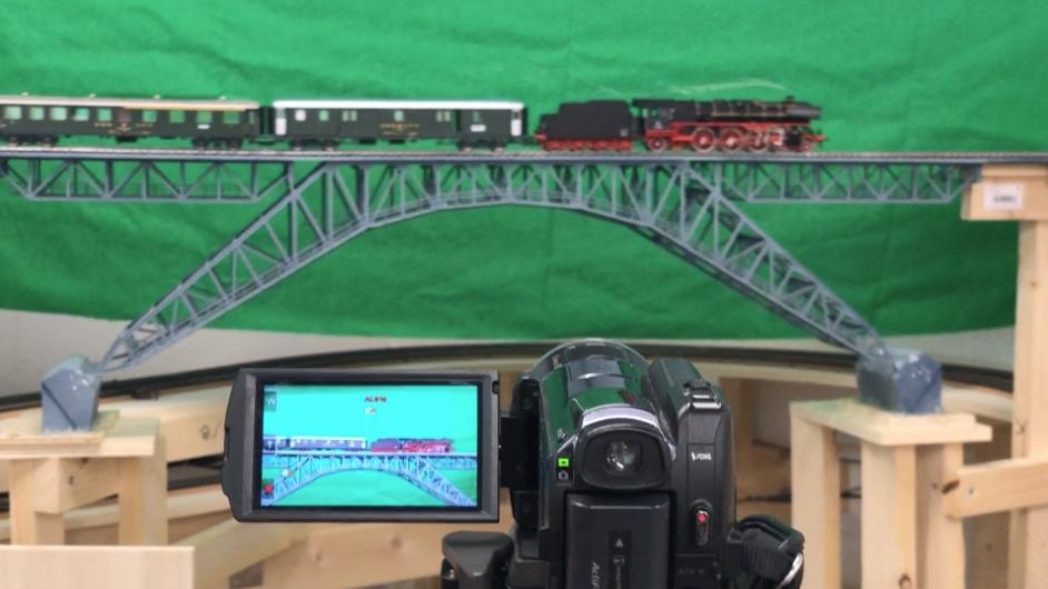 Green Screen Aufnahmen bei Modelleisenbahnen
