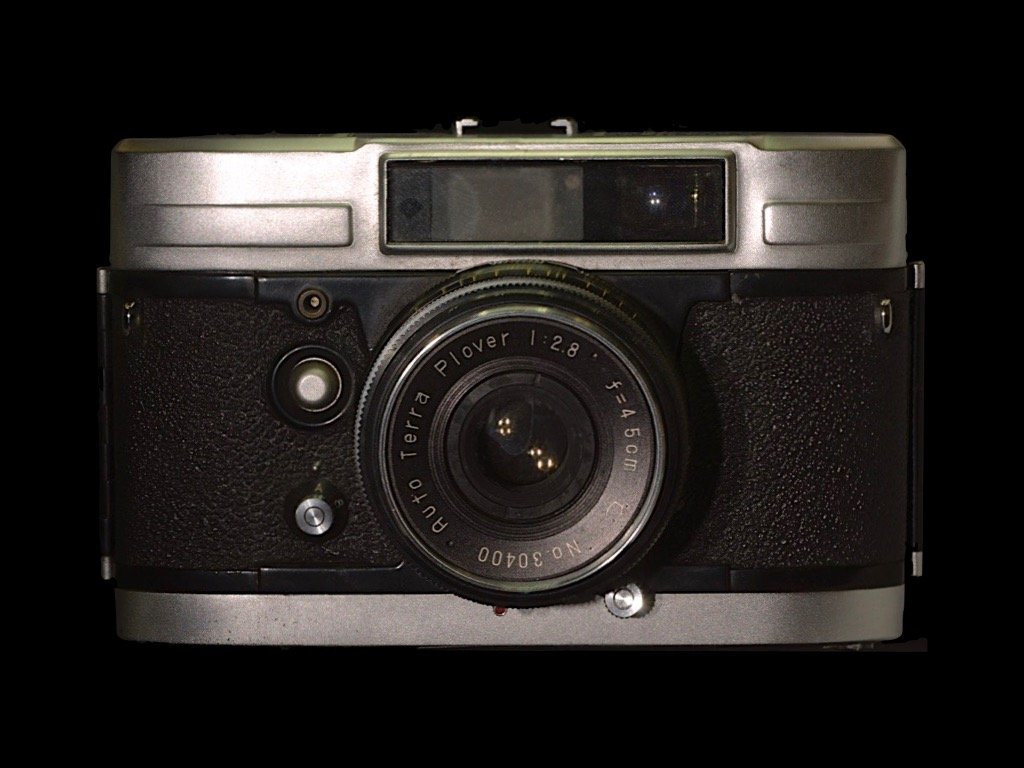 Auto Terra Super .  Released: 1959.  Model: 35mm . Lens.  Shutter type camera. Screen size: 24 x 36 mm. Lens: Plover 4.5cm f/2.8 . *Japan's first camera with internal spring motor.