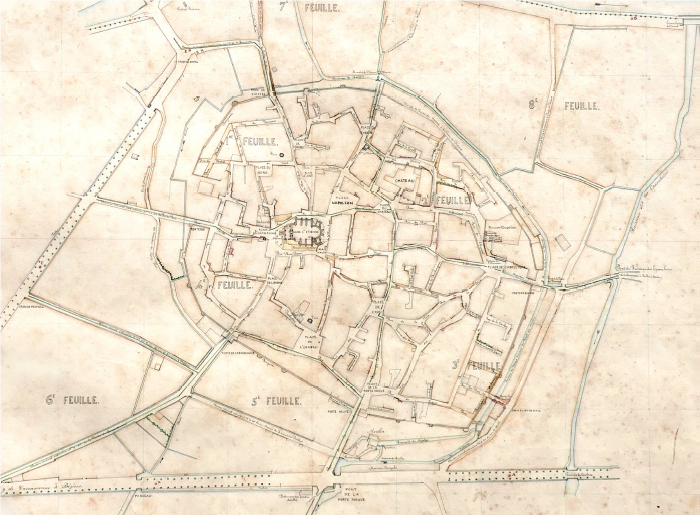 Le plan d'alignement et son atlas, Ville de Capestang, 1855