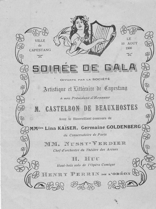 Le 10 août 1908, soirée de gala à Capestang