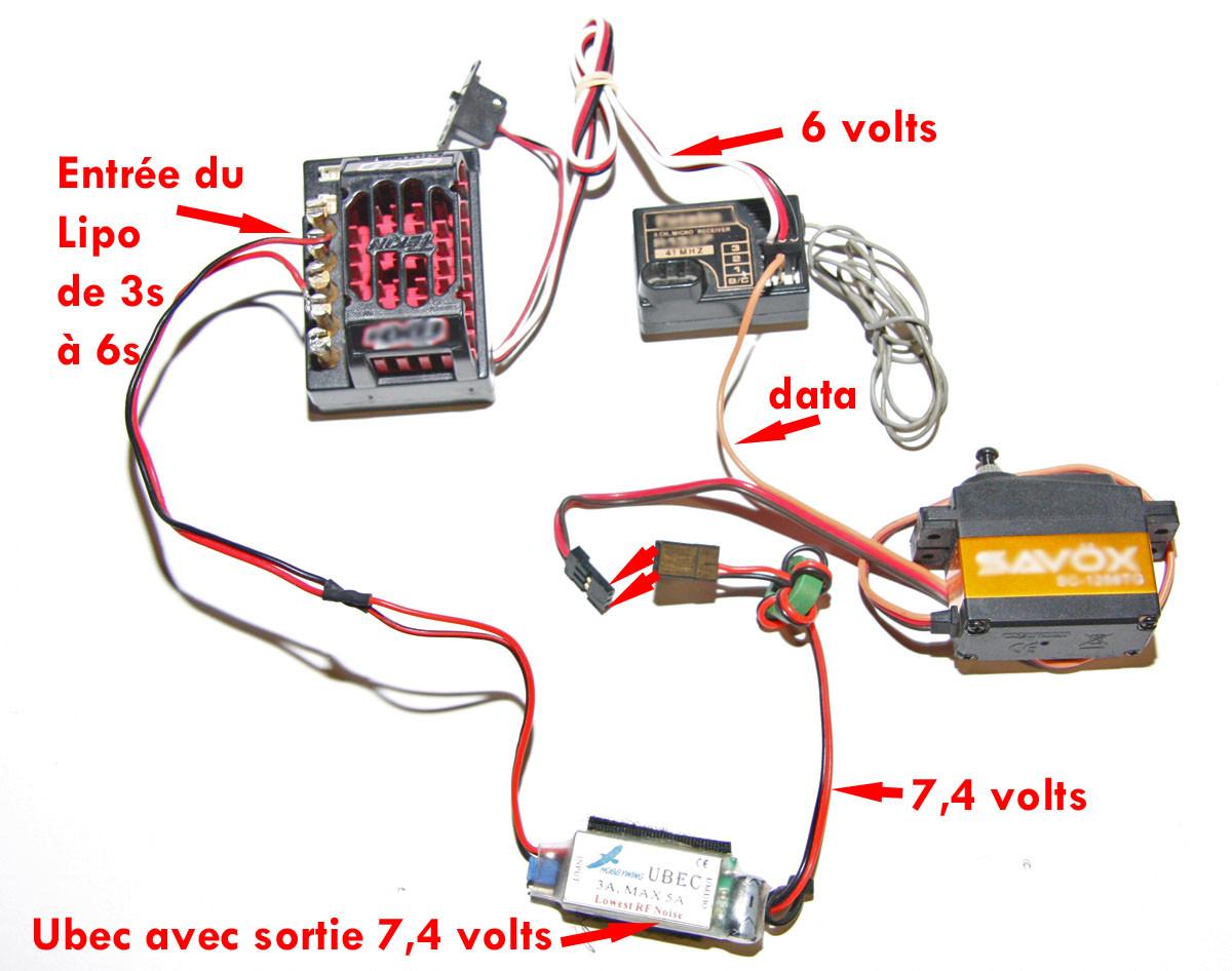 comment alimenter en 7 4 volts un servo hig voltage voiture telecommandee brushless remote car. Black Bedroom Furniture Sets. Home Design Ideas