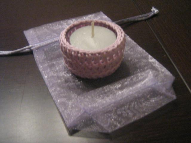 Espalmatoria pequeña rosa palido de ganchillo con NATURA de DMC.