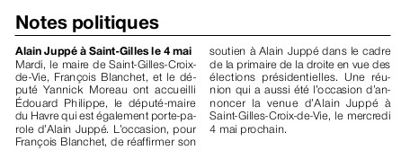 Article Ouest-France du 31 mars 2016