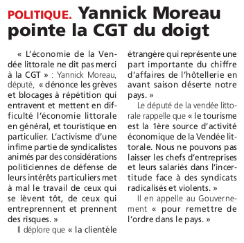 Article du Courrier Vendéen du 9 juin 2016
