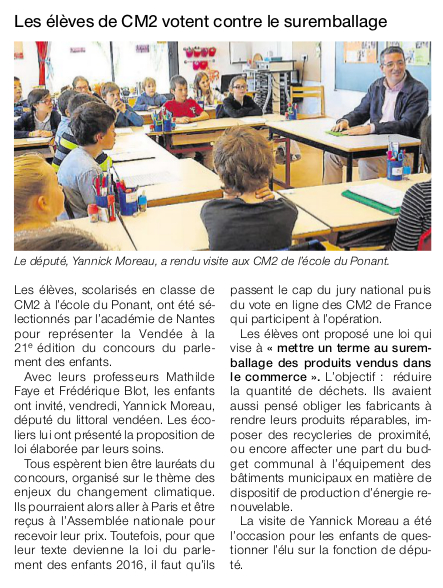 Article Ouest-France du 2 mai 2016.