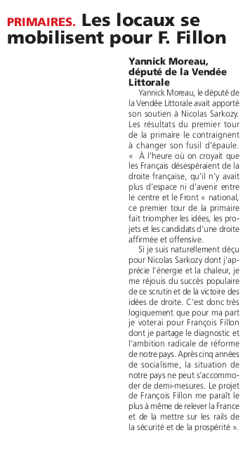 Article du journal des Sables du 24 novembre 2016.