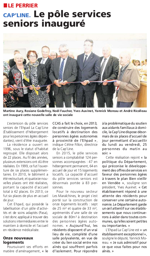 Article du Courrier Vendée du 20 octobre 2016