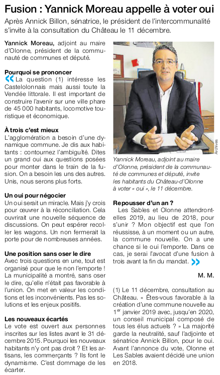 Article Ouest-France du 24 novembre 2016