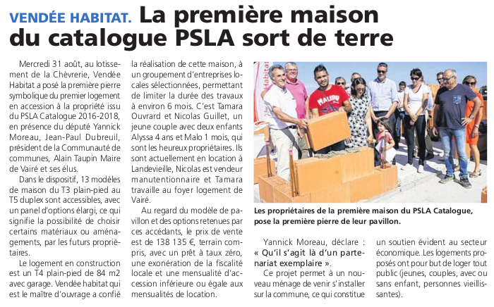 Article du journal des Sables du 8 septembre 2016
