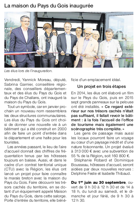 Article Ouest-France du 30 mai 2016
