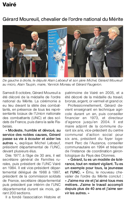 Article Ouest-France du 12 octobre 2016
