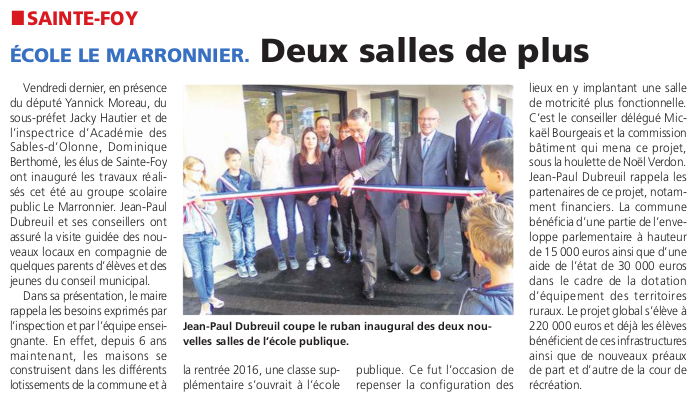 Article du journal des Sables du 20 octobre 2016