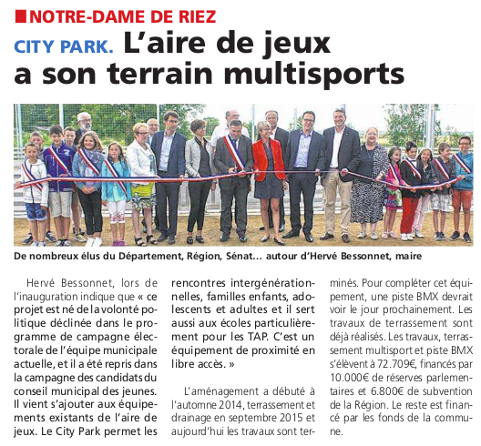 Article du Courrier Vendée du 7 juillet 2016