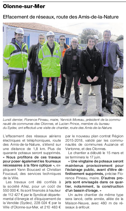 Article Ouest-France du 20 avril 2016.